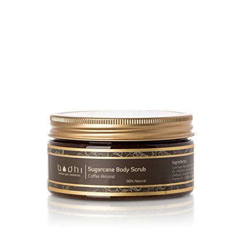Bodhi Cosmetics Toasty Coffee Almond Sugarcane Body Scrub - Highly Concentrated with Vitamins and Essential Oils That Rejuvenate and Cleanse the Skin, 8.5 Fl Oz
