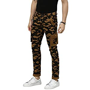 Urbano Fashion Men's Khaki Military Camouflage Cargo Chino Pants with 2 Pockets Slim Fit