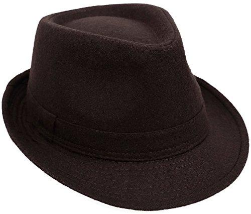 Classic Short Brim Gangster Manhattan Trilby Fedora Hat, -