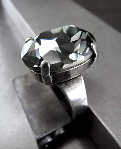 (Oval Cocktail Ring in Black Diamond Swarovski Crystal, Antiqued Silver Plated Adjustable Band)