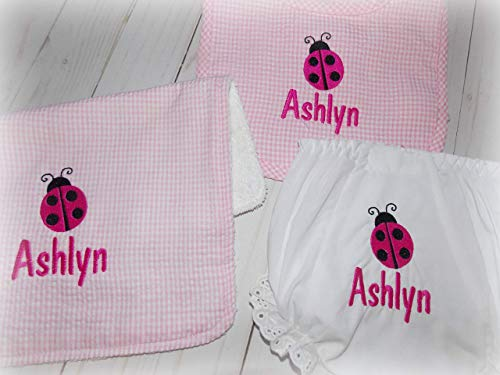 Ladybug Bloomers - Baby Girl Bib Burp Cloth Bloomers Ladybug Monogrammed