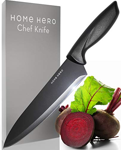 Home Hero Chef Knife - Kitchen Knife - 8 Inch Chef's Knife - Sharp Knife Made Out Of Stainless Steel With Ergonomic Handle Protective Finger Guard - Chef Knives Cooking Knife