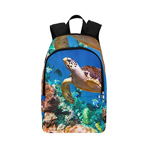 YPink Hawaiian Green Sea Turtle Cruising in The Warm Wat Casual Daypack Travel Bag College School Backpack for Mens and ()