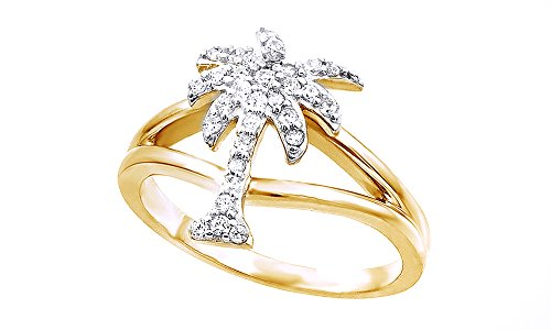 Jewel Zone US White Cubic Zirconia Palm Tree Shape Band Ring In 14k Yellow Gold Over Sterling Silver by Jewel Zone US