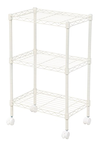 IRIS 3-Tier Wire Shelf with Casters, - Usa White Shelf Wire
