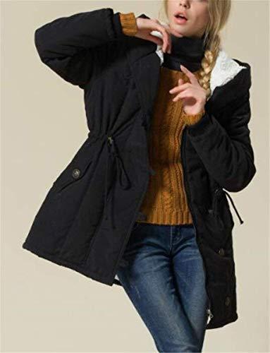 Día Elegantes Cómodo Largos Mujer Abrigo Espesar Suave Abrigos Largo De Transición Schwarz Grandes Sólidos Huixin Terciopelo Modernas Colores Parka Invierno Tallas Manga Caliente Grueso Encapuchado 6twvdf7xq