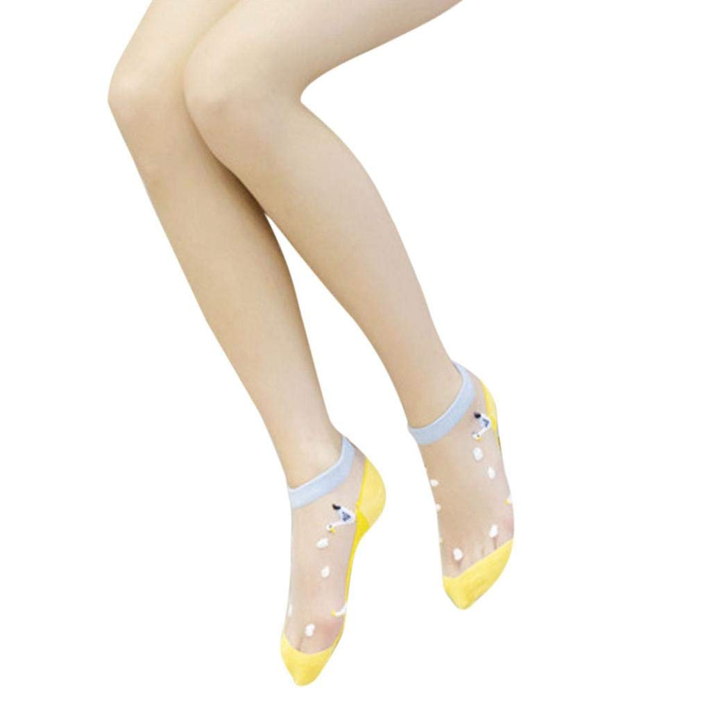 Women Boat Antibacterial Mesh Transparent Crystal Cotton Low-cut Cartoon Ankle Socks (A)