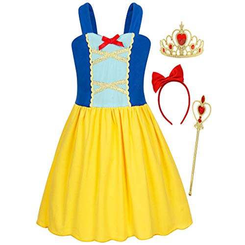 Cheap Cosplay Outfits (HenzWorld Princess Costume Dress Cosplay Birthday Party Outfits Role Pretend Bowknot Headband Accessories Patchwork Tank Tops Blue Yellow Little Girls 2-3)