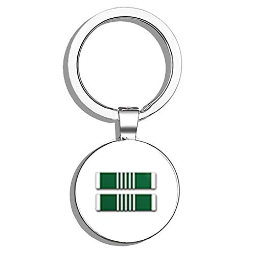 - HJ Media US Army Commendation Medal Ribbon Metal Round Metal Key Chain Keychain Ring