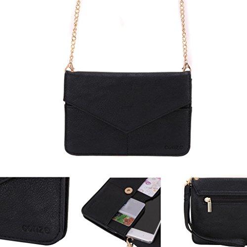 Conze Mujer embrague cartera todo bolsa con correas de hombro compatible con Smart teléfono para Blackberry Porsche Design P '9982 negro negro negro
