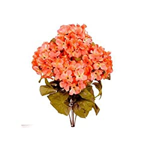 JenlyFavors 22 Inch X-Large Satin Artificial Hydrangea Silk Flower Bush (a Lot of 6 Bushes 42 Heads) (Coral) 119