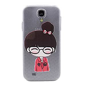 MOM ships in 48 hours Girl with Glasses Pattern Hard Case with Rhinestone for Samsung Galaxy S4 I9500