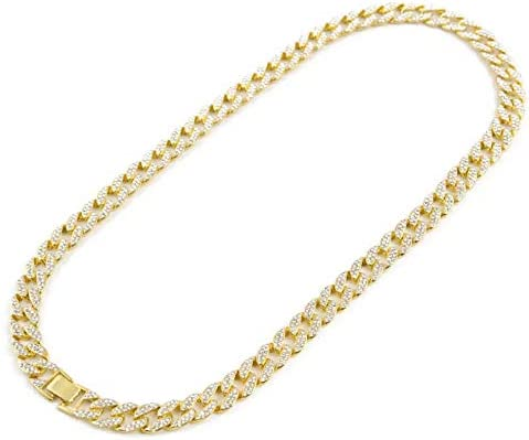 ICE BOX Cuban Link Chain Necklace Bust Down CZ Diamond Silver Color Gold Cuban Necklace Chain Supreme Necklace Hip Hop Rapper Cuban Chain Bling Fashion Jewelry