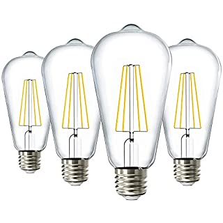 Sunco Lighting 4 Pack ST64 LED Bulb, Dimmable, Waterproof, 8.5W=60W, 6000K Daylight Deluxe, Vintage Edison Filament Bulb, 800 LM, E26 Base, Restauarant or String Lights - UL