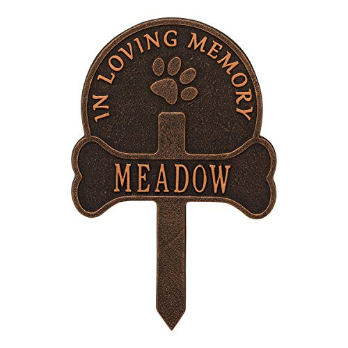 - Whitehall Paw and Bone Personalized Pet Memorial Yard Sign - Remembrance Grave Marker and Garden Stake - Oil Bronze