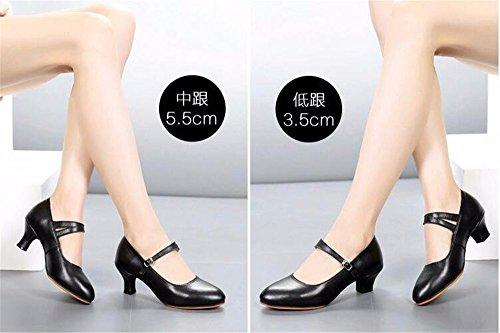 SQIAO-X- Ballo latino _ scarpe di pelle nuova Scarpa danza latino Kraft scarpe da ballo Square Dance Scarpe Donna fondo morbido, High-Heeled, nero (5,5 cm),34