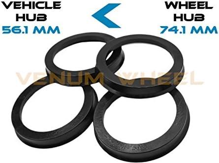 4개의 허브 중심 링 56.1 ID - 74.1 OD 블랙 폴리카보네이트 소재 (차량 56.1mm에서 휠 74.1mm까지) / 4개의 허브 중심 링 56.1 ID - 74.1 OD 블랙 폴리카보네이트 소재 (차량 56.1mm에서 휠 74.1mm까지)