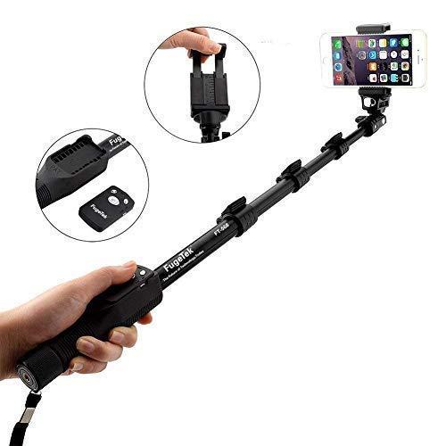 Fugetek FT-568 Selfie Stick monopie de gama alta profesional, para cámaras Apple, Android y DLSR, control remoto inalámbrico inalámbrico extraíble (negro)