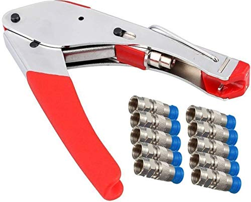 PagKis Stainless Steel Dish Cable TV Compression Crimping Tool and 10 F Connectors for RG6 Cable Crimper