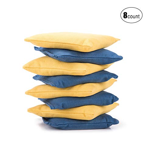 Pinty All Weather Cornhole Bean Bags - Set of 8 Cornhole Bags for Adult Corn Hole Games Double-Stitching Canvas Recycled Pellets Fillings (Yellow & Blue)