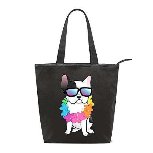 Women Canvas Handbag French Bulldog Purse Shoulder Bag Messenger Bag Mom Bag for Women
