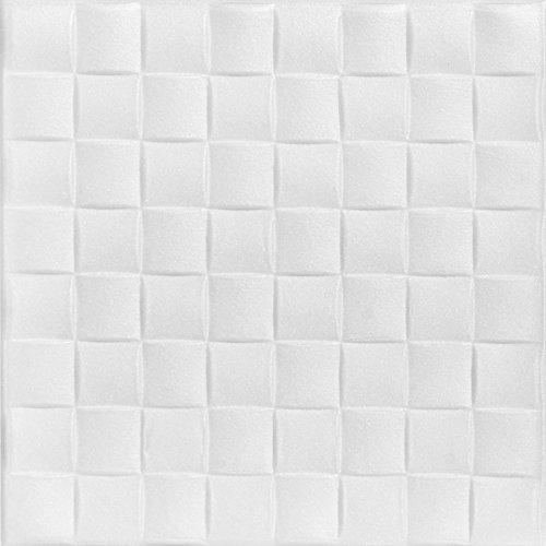 A la Maison techos 816Cobblestone–Azulejos de techo de poliestireno (paquete de 8, baldosas), color blanco liso