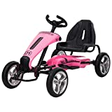 Uenjoy Electric Go Kart 12V Ride On Car Racing Car w/Gas Pedal, Sports Steering Wheel, Adjustable Seat, Pink