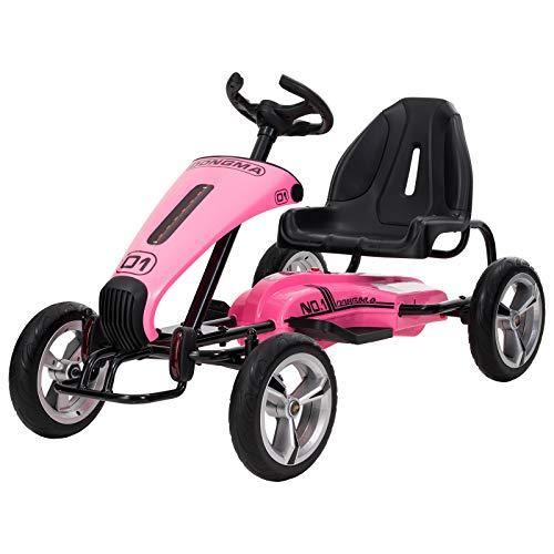 (Uenjoy Electric Go Kart 12V Ride On Car Racing Car w/Gas Pedal, Sports Steering Wheel, Adjustable Seat, Pink)