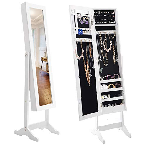 Giantex Jewelry Armoire Cabinet Organizer Storage Mirrored Stand with 4 Shelves for Makeup 18 Necklace Hooks 56 Rings 20 Earrings Slots Non Lockable Wood Standing Jewelry Armoire with Mirror (White) (Cabinets Jewelry With Mirror)