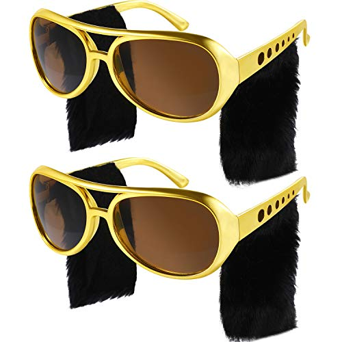 Gejoy 2 Pairs Elvis Style Glasses Rockstar Sunglasses Disco Glasses 50s 60s Costume Sunglasses Retro Glasses for Men Women Party Accessories -