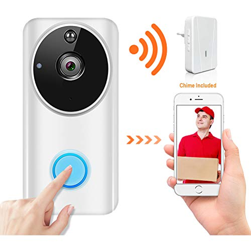Wireless Video Doorbell Wi-Fi Enabled, Smart Home Door Bell 720P HD WiFi Security Camera with Motion Detection, Real-Time Two-Way Video Intercom, Night Vision, Supports SD Card, with Chime, No Battery