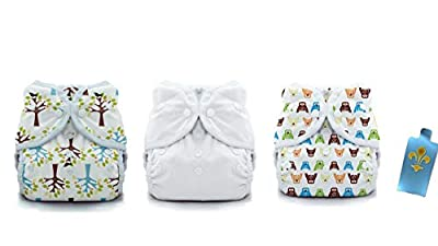 Thirsties Duo Wrap Snaps Diaper Covers 3 pack Combo: Hoot, Blackbird, and White, Sz 1