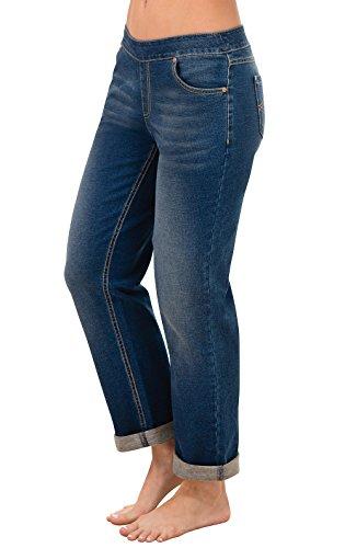 PajamaJeans Women's Boyfriend Stretch Knit Denim Jeans in Classic Blue