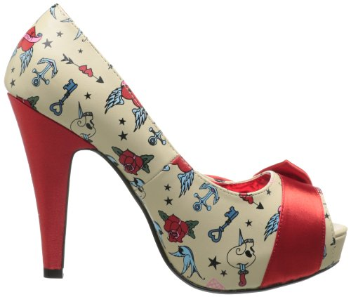 13 Cream BETTIE Print Tattoo Pu Satin red PavwzqH