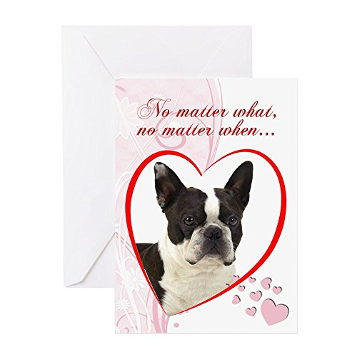 CafePress - Boston Terrier Valentine Card - Greeting Card, Note Card, Birthday Card, Blank Inside Matte - Terrier Birthday Card