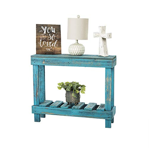 Barnwood Entry Table by Del Hutson Designs (Turquoise) (Teal Hutch)