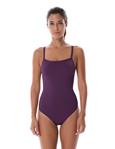 Elite Training (SYROKAN Women's Sleek Solid Elite Training Sport Athletic One Piece Swimsuit Dark Violet 30 Inch)