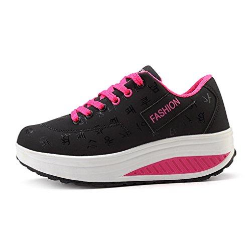Cybling Fashion Womens Scarpe Da Ginnastica Sportive Da Passeggio Per Sport Outdoor Con Sneakers Con Zeppa Nere