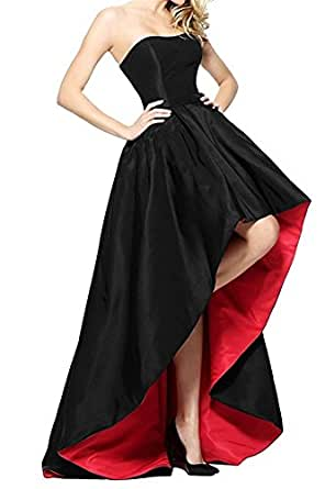 HATAIL High Low Prom Dresses 2018 Strapless Satin A Line Evening Gowns For Women Party