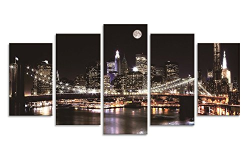 (Sweety Decor Brooklyn Bridge Photo Prints on Canvas with Moon Night City Scene for Home and Office Wall Decoration (Wood Framed))