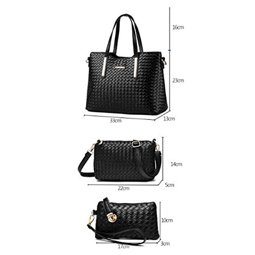 Tote Purse Pink Women Bag Leather Weave 3 Piece Bag Pu Handbag Multicolor Satchel Shoulder qxSAav