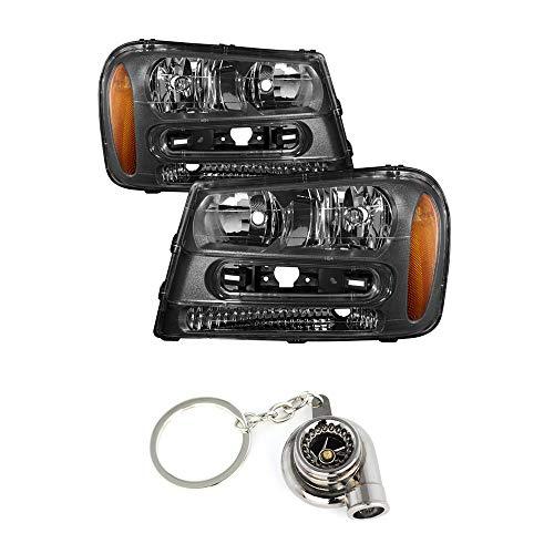 Chevy Trailblazer Black Crystal Headlights+ Free Gift Key Chain Spinning Turbo Bearing - Chevy Blazer Turbo