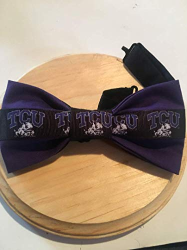 Texas Christian bow tie, TCU bow tie,horned frogs bow tie. NCAA fan bow tie. Pre-tied with 18