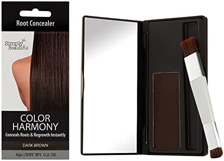 Hair Color Root Touch-Up Powder by Color Harmony: Conceals Grey and Dark Roots, Water Resistant Cover-Up; Non-Sticky, Simple To Apply and Mess-Free Root Concealer Mascara (Dark Brown)