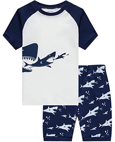4t Sleepwear - Boys Pajamas Shark Summer Short Clothes Kids Toddler Pjs Sleepwear Shirts 4t
