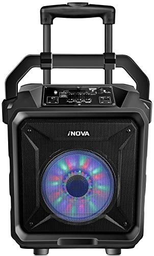 iNova Portable LED Bluetooth PA Heavy Bass Party Speaker. Built-In Woofer & Rechargeable Battery/Disco Lights/FM Radio/TF Card Slot/USB Port/AUX/FREE Wireless Microphone- Karaoke/Home/Outdoor
