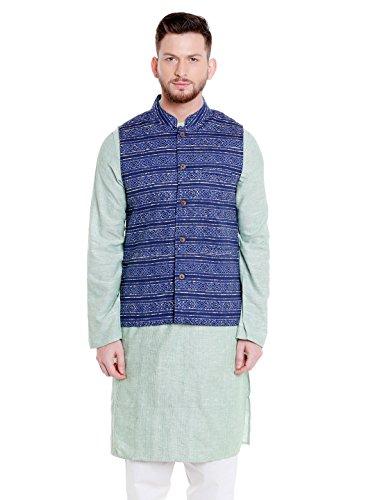 Shatranj Men's Banded Collar Button Down Cotton Vest with Artistic Indian Prints; Blue; LG by Shatranj