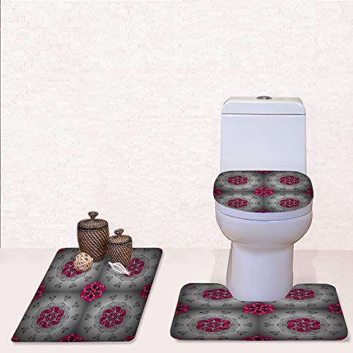 Filigree Piece Three Design - Door Mat Bathroom Rug Mats lid Toilet Bath Mat, Decorative Design Element Filigree Calligraphy,3 Piece Set
