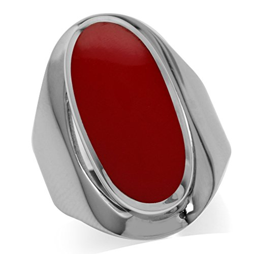 - Created Red Coral Inlay White Gold Plated 925 Sterling Silver Casual Armor Ring Size 8