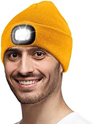 Gifts for Men,Unisex LED Beanie Hat with Light Toque Gift Idea for Dad,Father,Husband,Boyfriend,Mechanic,Stock